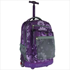Rolling Backpack with Laptop Sleeve in Purple Flower