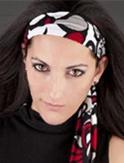 scarf-headband-red-black-model