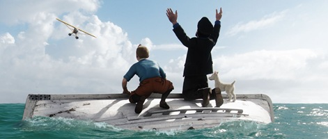 Tintin (played by Jamie Bell), Haddock (played by Andy Serkis) and Snowy await rescue.