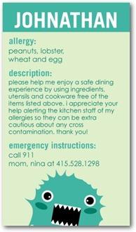 Allergy Alert Cards - Tiny Prints