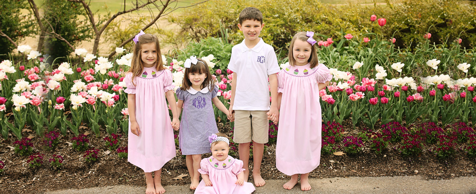 monogrammed-dress-monogrammed-boy-polo-shirt-and-cupcake-smocked-dress-hairbow-banner