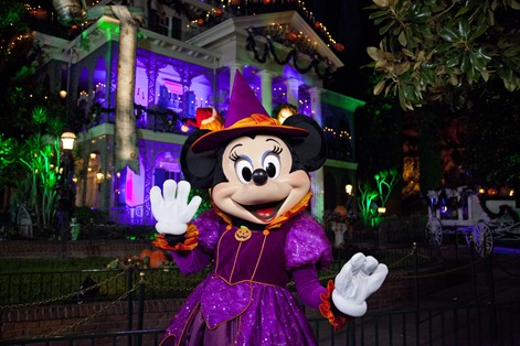 "Halloween Minnie – From Sept. 12 through Oct. 31, 2014, families will celebrate Halloween Time at the Disneyland Resort as they interact with some of Disney's most beloved characters decked out in seasonal costumes. Even the Disney villains get into the ""spirit"" of the celebration at Disneyland Park. Guests also will enjoy Haunted Mansion Holiday and a scary adventure at Space Mountain Ghost Galaxy. Mickey's Halloween Party, a special ticketed event, will run for 14 nights including October 31. (Paul Hiffmeyer/Disneyland)"