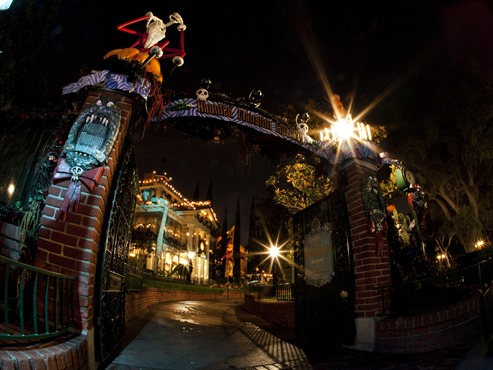 "Haunted Mansion Holiday – From Sept. 12 through Oct. 31, 2014, families will celebrate Halloween Time at the Disneyland Resort as they interact with some of Disney's most beloved characters decked out in seasonal costumes. Even the Disney villains get into the ""spirit"" of the celebration at Disneyland Park. Guests also will enjoy Haunted Mansion Holiday and a scary adventure at Space Mountain Ghost Galaxy. Mickey's Halloween Party, a special ticketed event, will run for 14 nights including October 31. (Paul Hiffmeyer/Disneyland)"