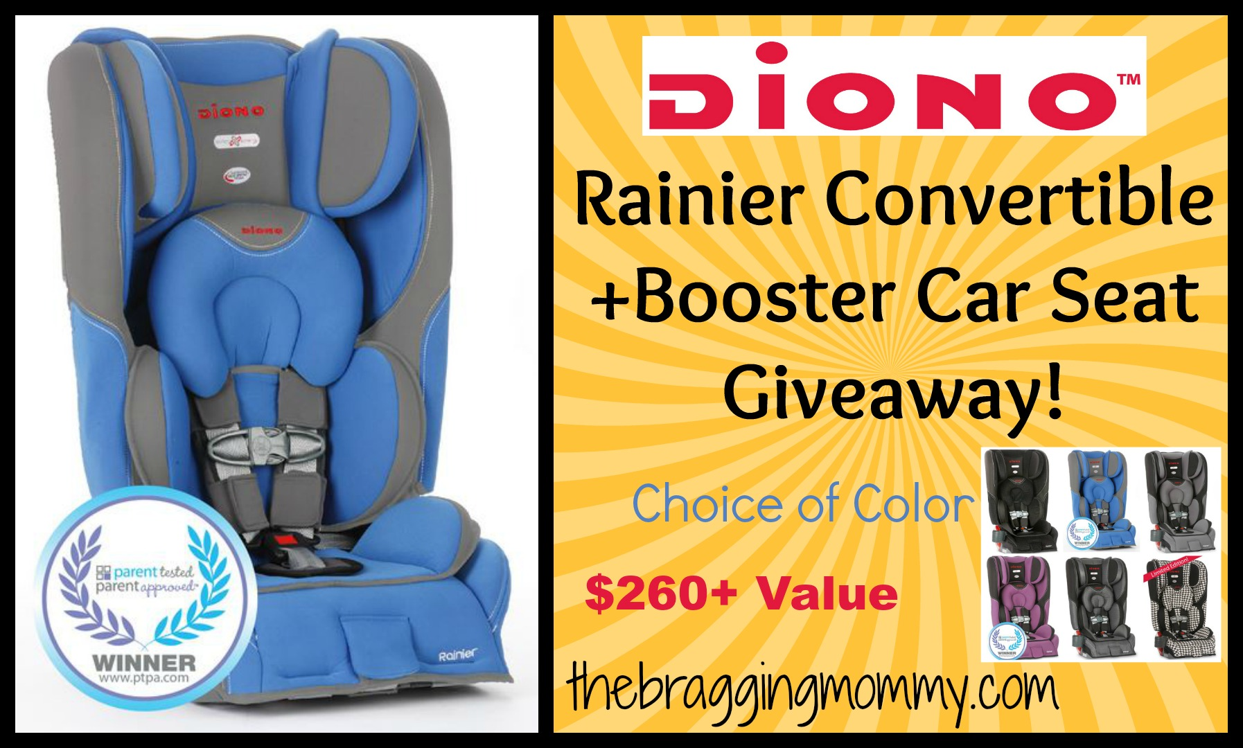 Car Seat Giveaway: Diono Rainier Convertible+Booster Car Seat Review And Giveaway