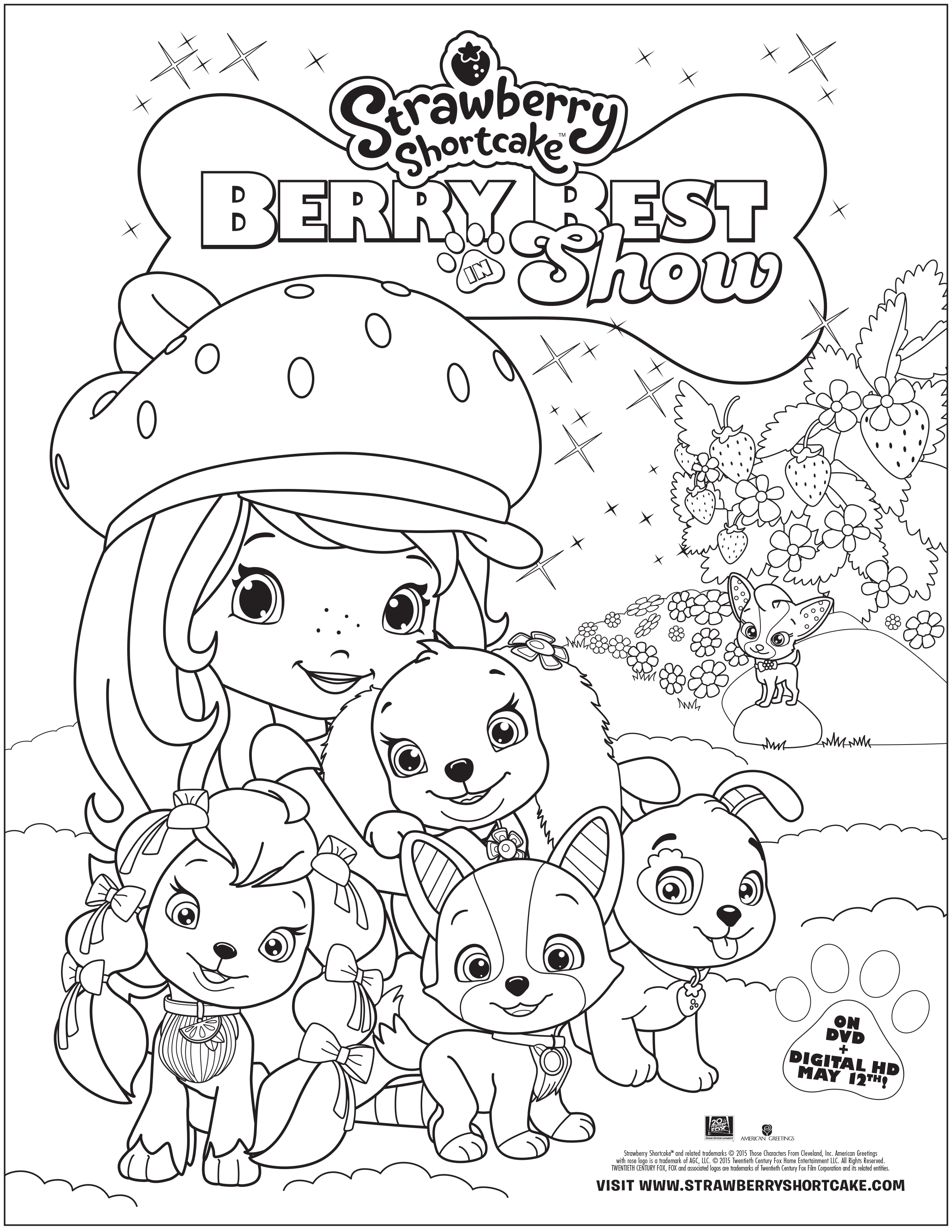 Strawberry shortcake berry best in show dvd review and for Strawberry shortcake coloring pages to print