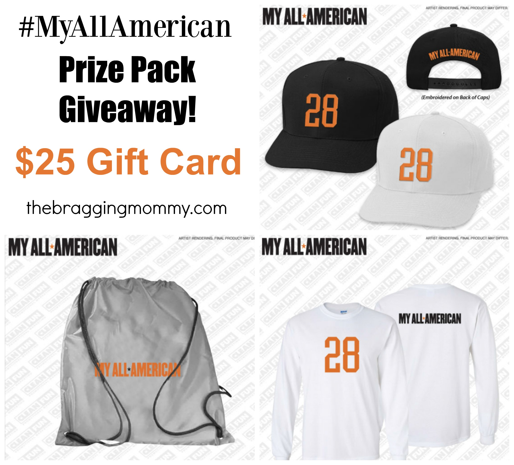 My All American Movie Prize Pack + $25 GC Giveaway