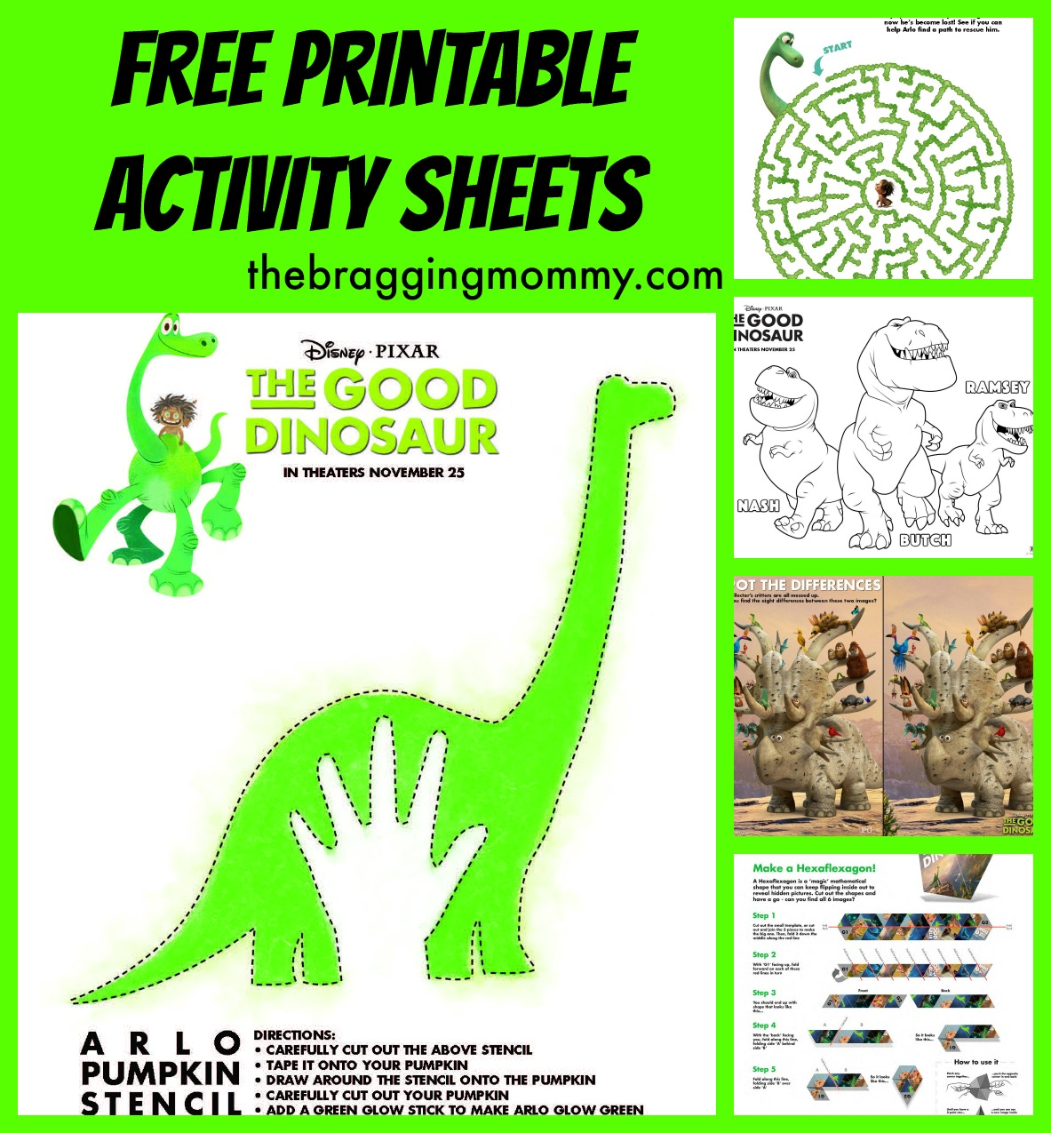 The Good Dinosaur Pumpkin Stencil & Other Printable Activity Sheets! #GoodDinoEvent