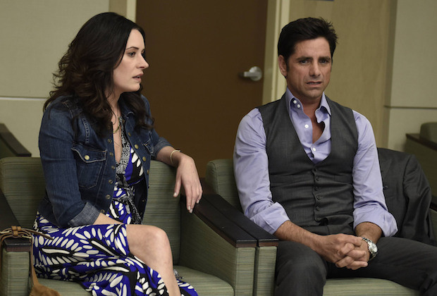 "GRANDFATHERED: (L-R) Sara (Paget Brewster) and Jimmy (John Stamos) in the ""Pilot"" episode of GRANDFATHERED series premier airingTuesday, Sept. 29 (8:00-8:30 PM ET/PT) on FOX. ©2015 Fox Broadcasting Co. CR: Erica Parise/FOX"