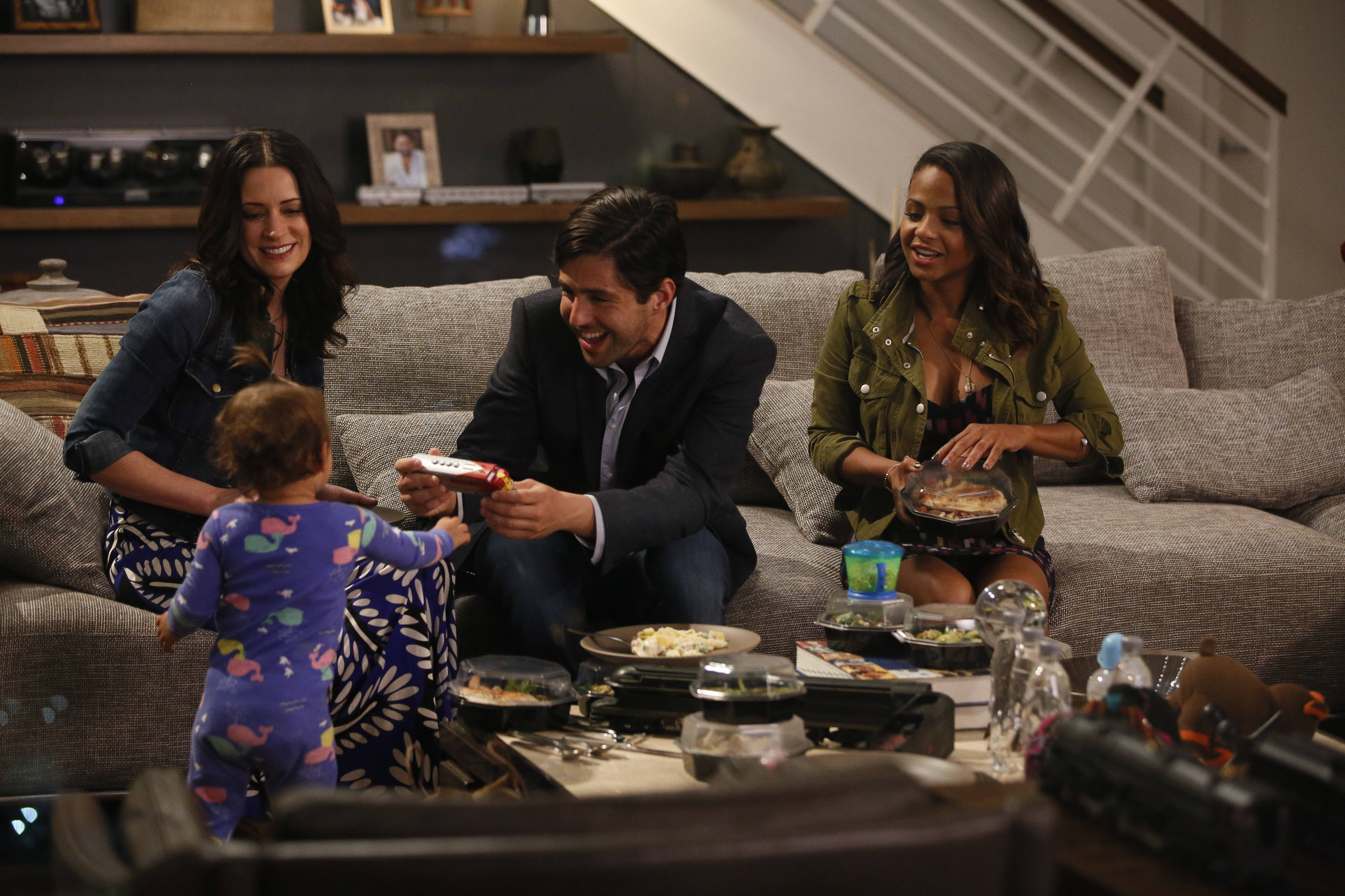 "GRANDFATHERED: (L-R) Sara (Paget Brewster), Gerald (Josh Peck) and Vanessa (Christina Milian) in the ""Pilot"" episode of GRANDFATHERED series premier airingTuesday, Sept. 29 (8:00-8:30 PM ET/PT) on FOX. ©2015 Fox Broadcasting Co. CR: Erica Parise/FOX"