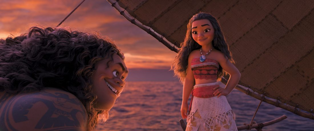 """Demigod Maui (voice of Dwayne Johnson) is reluctant to help adventurous teenager Moana (voice of Auli'i Cravalho), who is determined to become a master wayfinder and save her people. But Moana is destined to win him over with her charm, strength and unbridled spunk. Directed by Ron Clements and John Musker, produced by Osnat Shurer, and featuring music by Lin-Manuel Miranda, Mark Mancina and Opetaia Foa'i, """"Moana"""" sails into U.S. theaters on Nov. 23, 2016. ©2016 Disney. All Rights Reserved."""