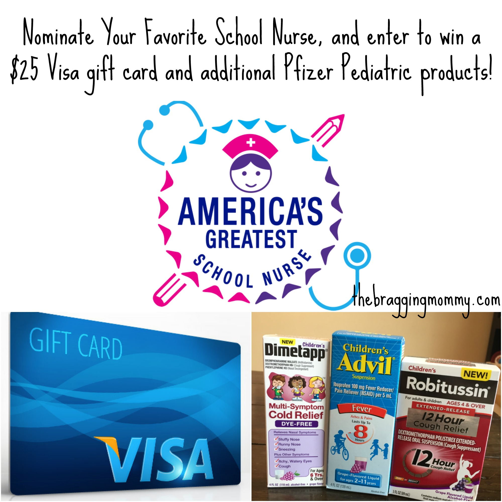 Americas greatest school nurse contest and pfizer pediatrics to help celebrate nurses pfizer pediatrics is generously giving away a 25 visa gift card and additional pfizer pediatric products 1 childrens advil kristyandbryce Image collections