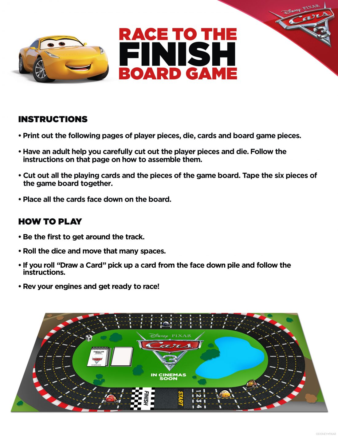 Race track printable board games -  Race To The Finish Board Game