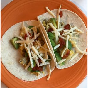 Easy Cheesy Breakfast Tacos Recipe- Brunch Better with Nellie's Free Range Eggs and Cabot Cheese
