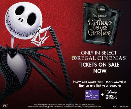 on halloween weekend friday october 27th tuesday october 31st disneys the nightmare before christmas will be playing exclusively at over 300 regal