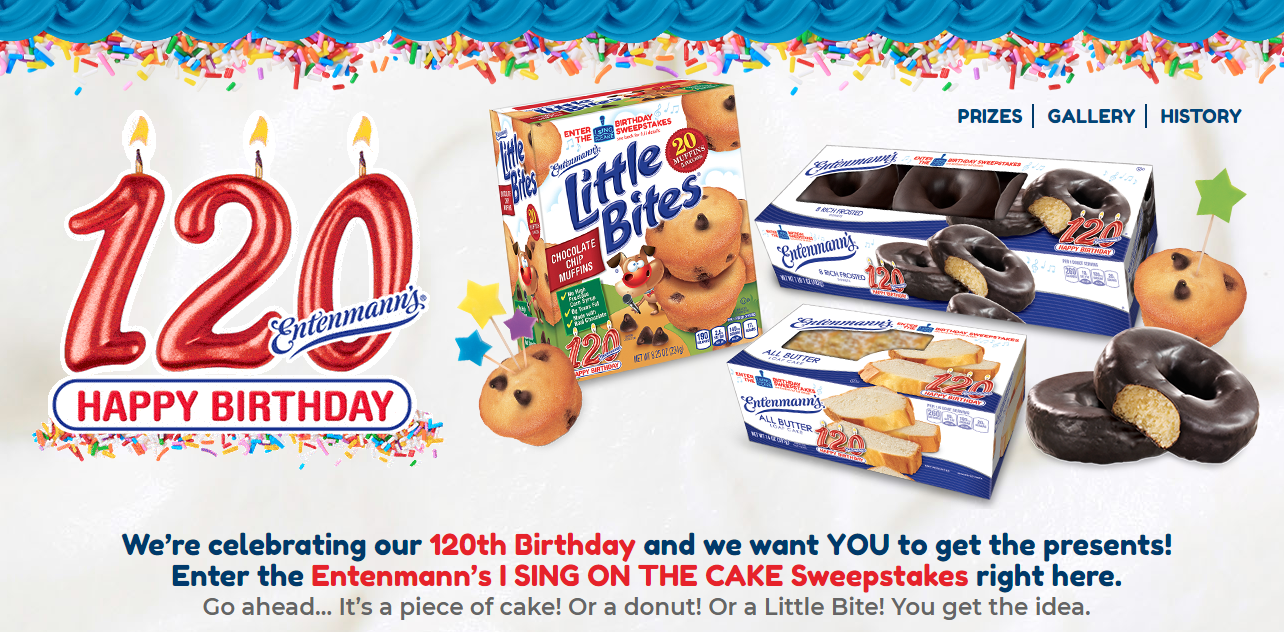 Entenmanns 120th Birthday I Sing On The Cake Sweepstakes 25 Visa GC Little Bites Giveaway Entenmanns120
