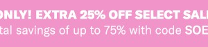 Shopbop 3 Day Sale ~ Get an Additional 25% off!